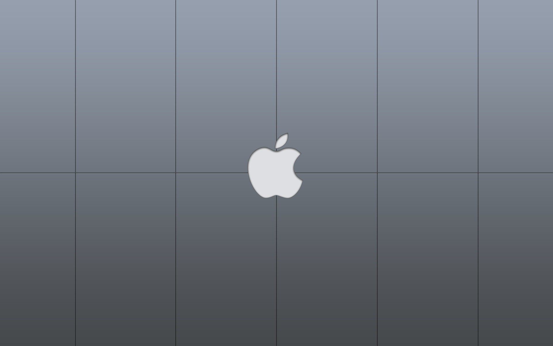 Gray wallpaper with the logo of Apple Macintosh.