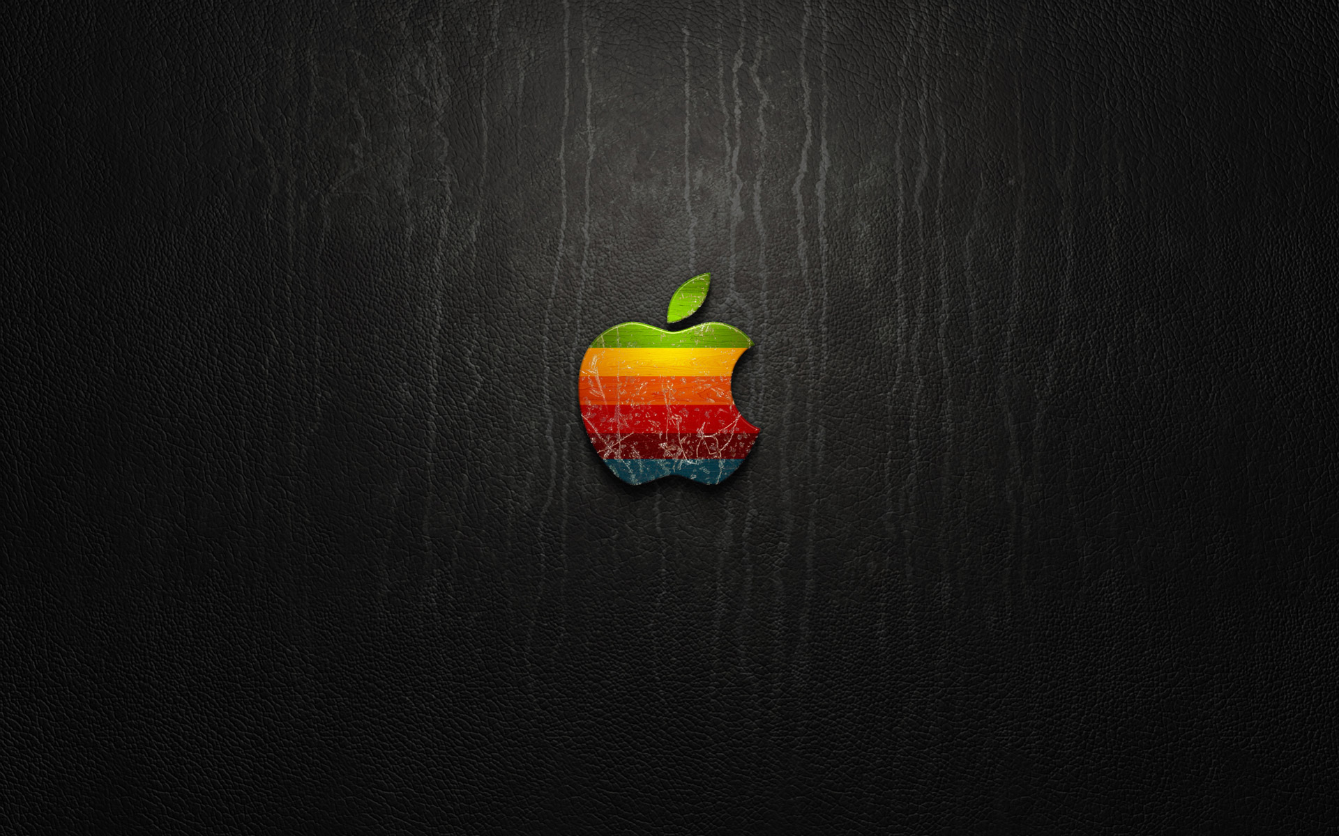 The Apple logo on the leather texture