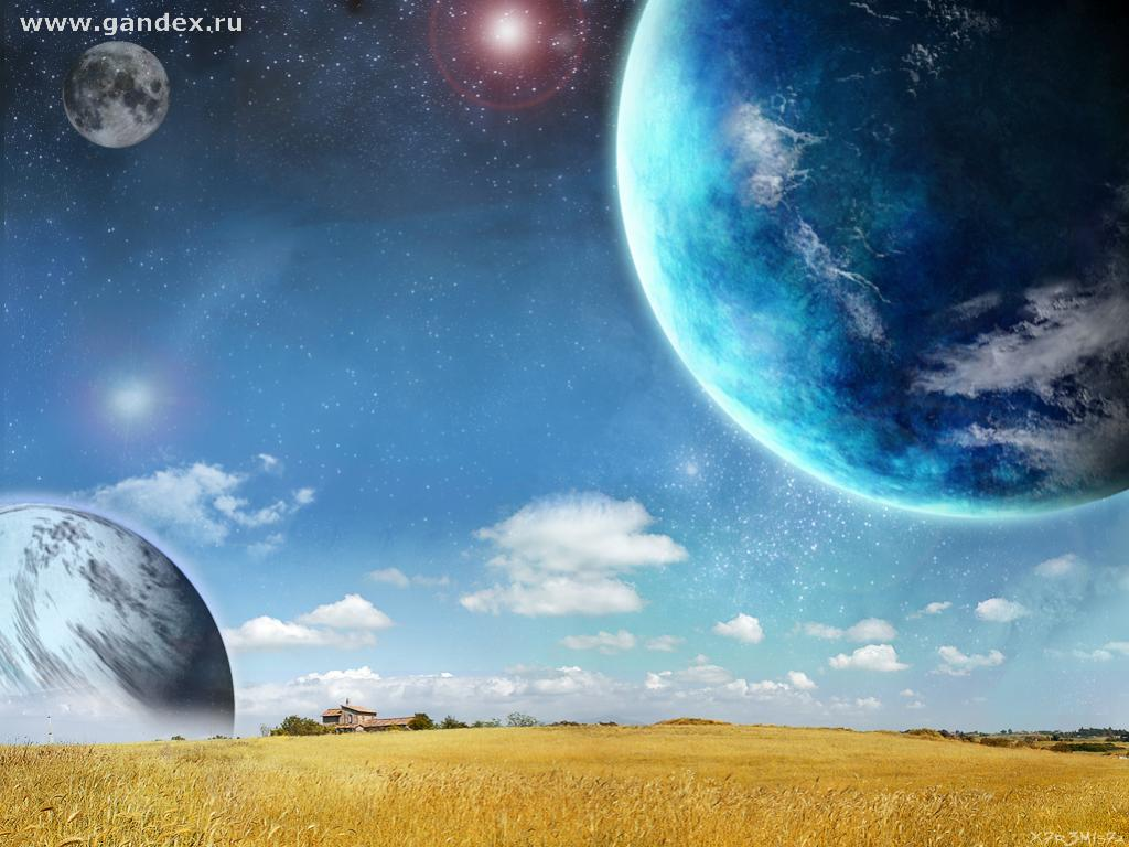 A futuristic fantasy planet - wheat field - the theme of fantasy worlds, planets, wheat, field - wallpaper