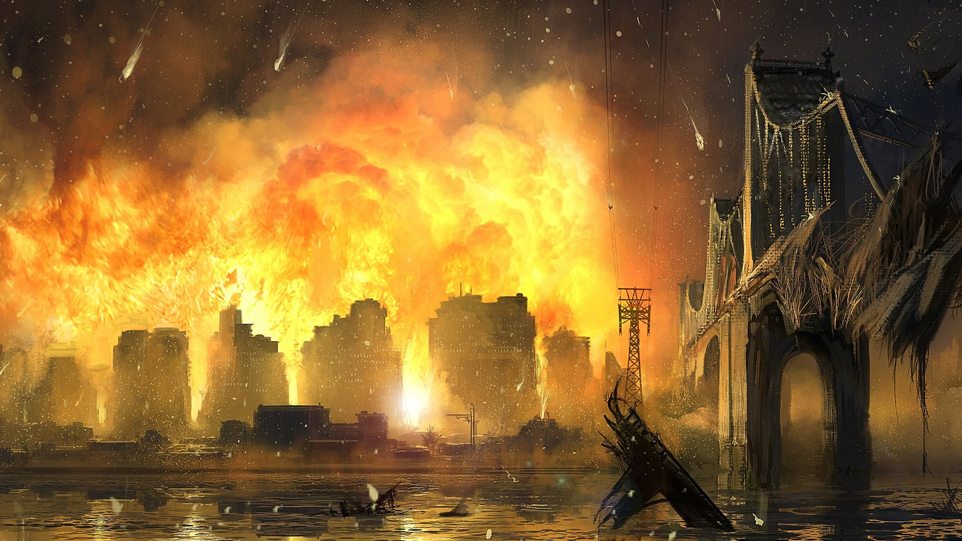 Art wallpaper with a fiery apocalypse somewhere in America