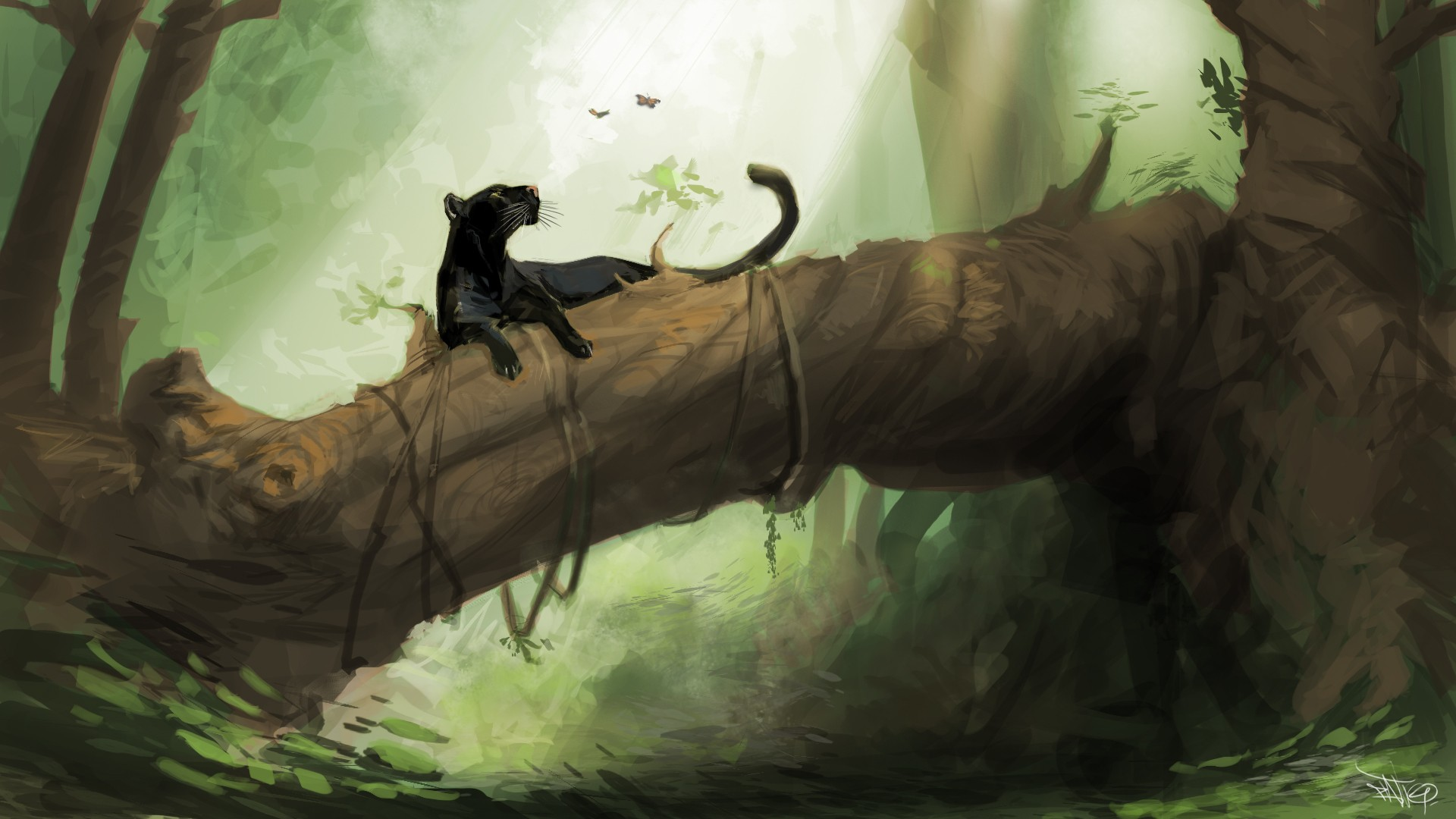 Artwork with a black panther in a tree
