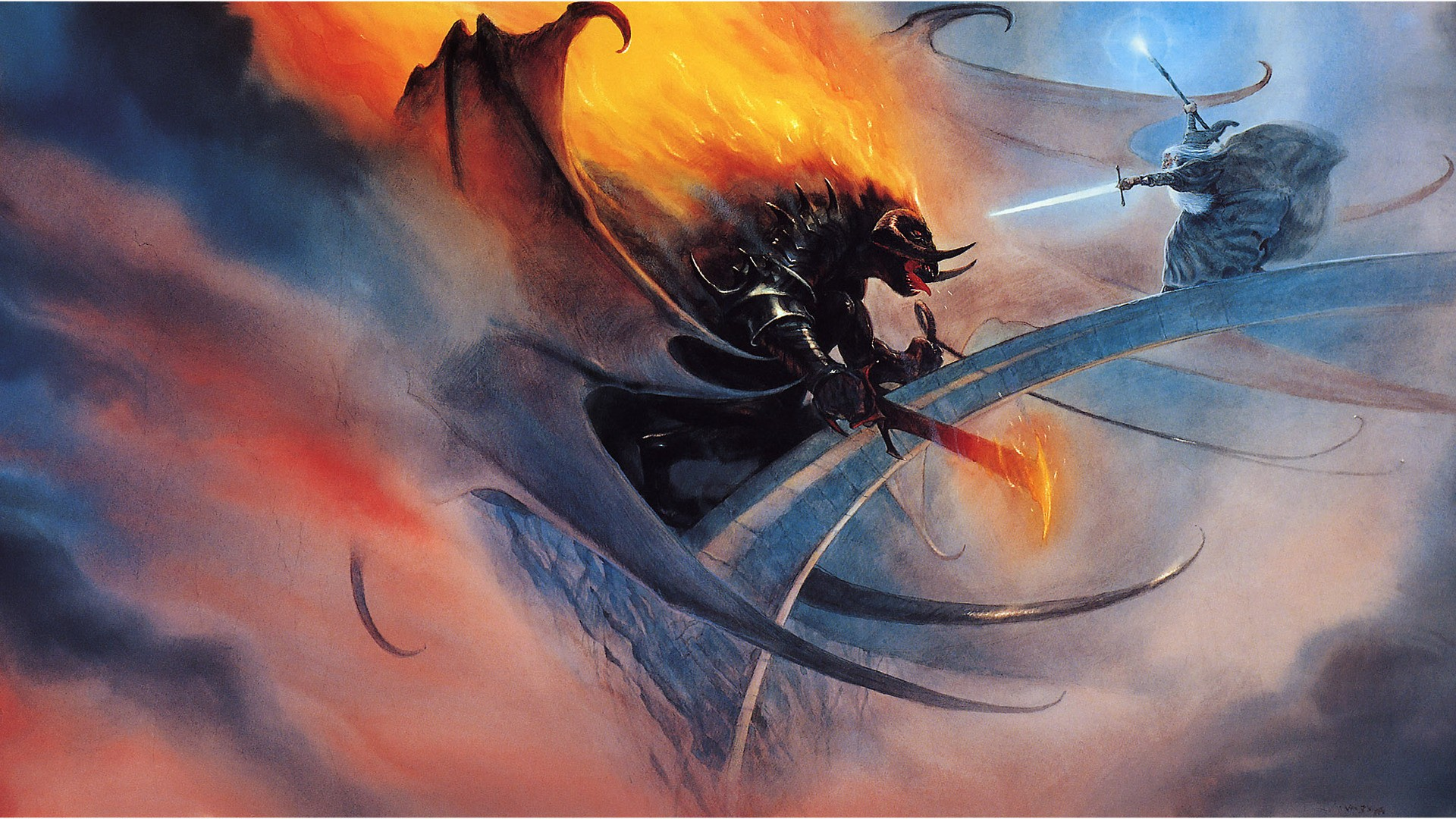 Battle of Gandalf and the Balrog, widescreen wallpaper on the product Tolkien