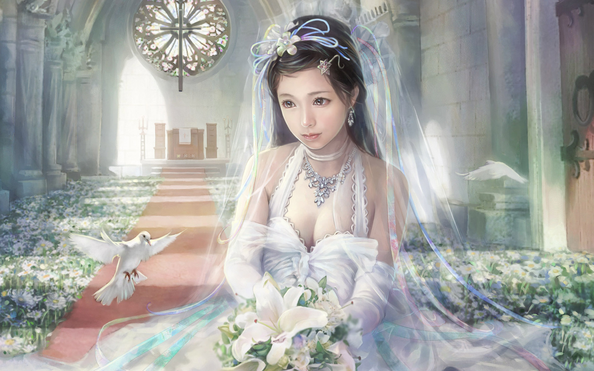 Beautiful bride in a wedding dress at the altar (CG Characters)