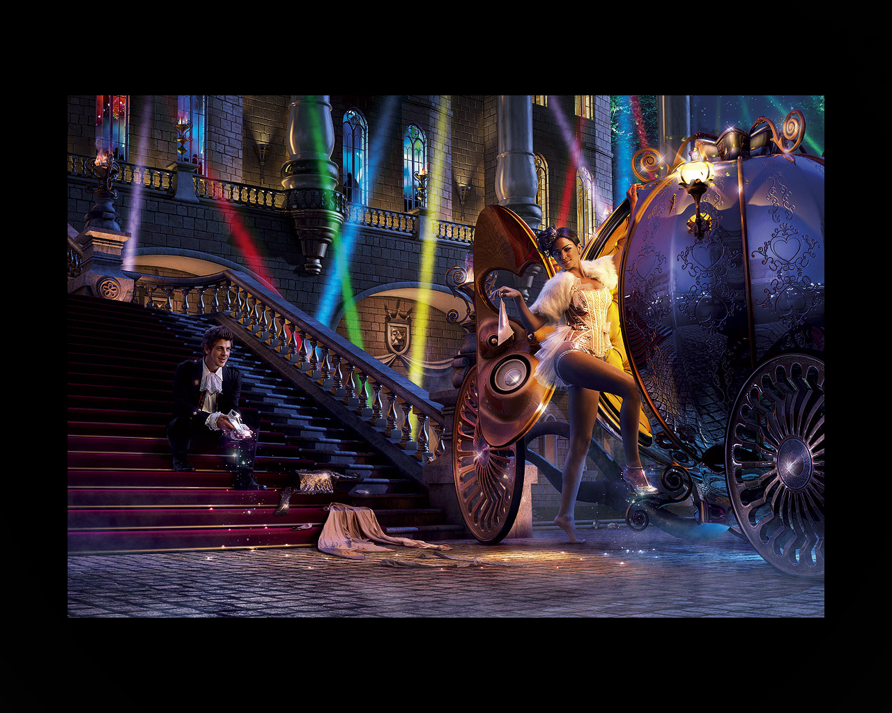 Creative and conceptual, a little erotic wallpaper for your desktop - on the theme of fairy tale Cinderella.