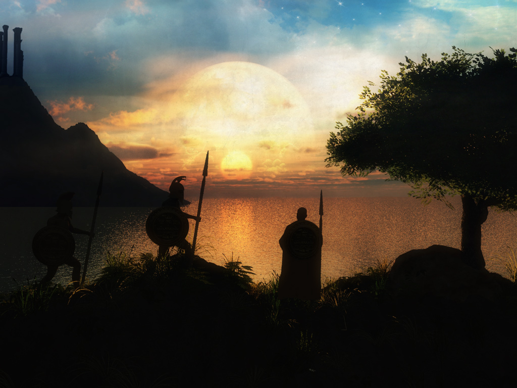Desktop Wallpapers - soldiers, sunset, sea, fantasy