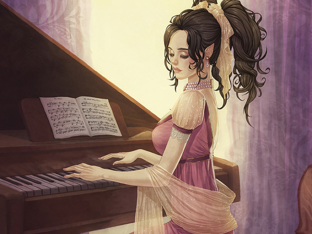 Elven maiden at the piano