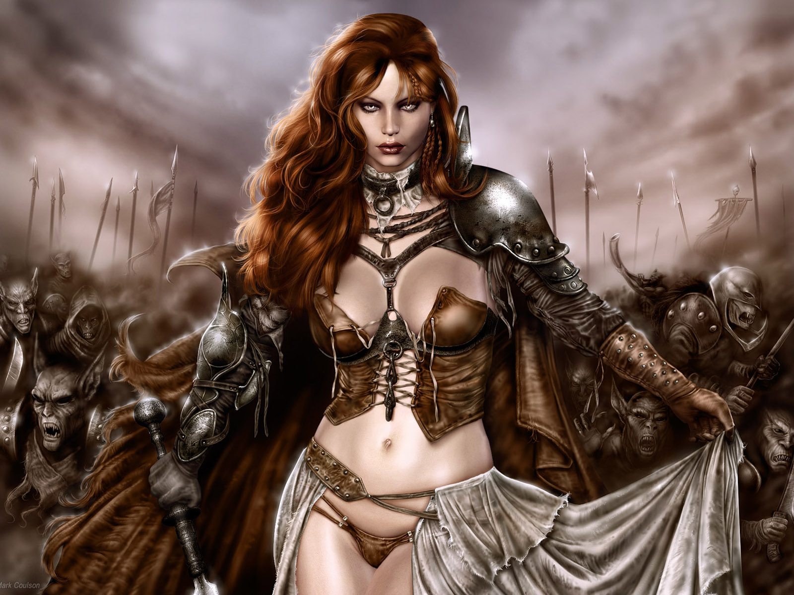 Female warrior with a sword in his hand, wallpaper - fantasy image.