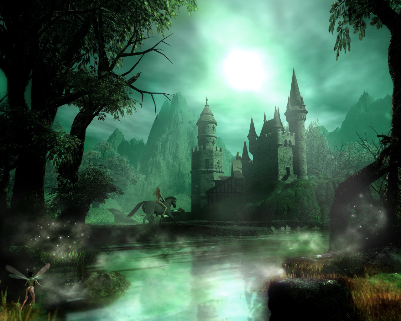 Forest, castle and a naked girl on a horse - a background for your desktop, erotic, fantasy, fantasy