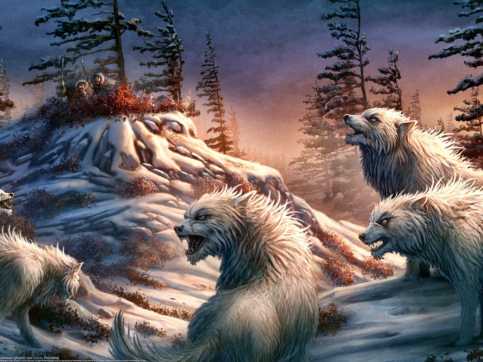 hunters and wolves