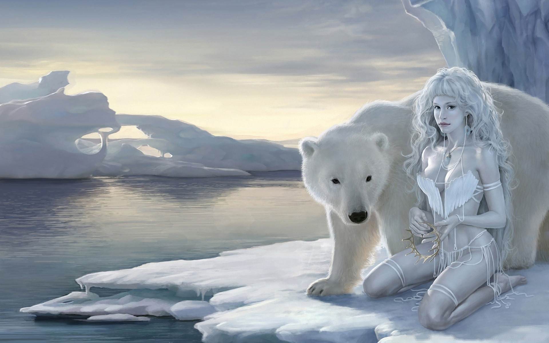 Snow Queen and a white polar bear