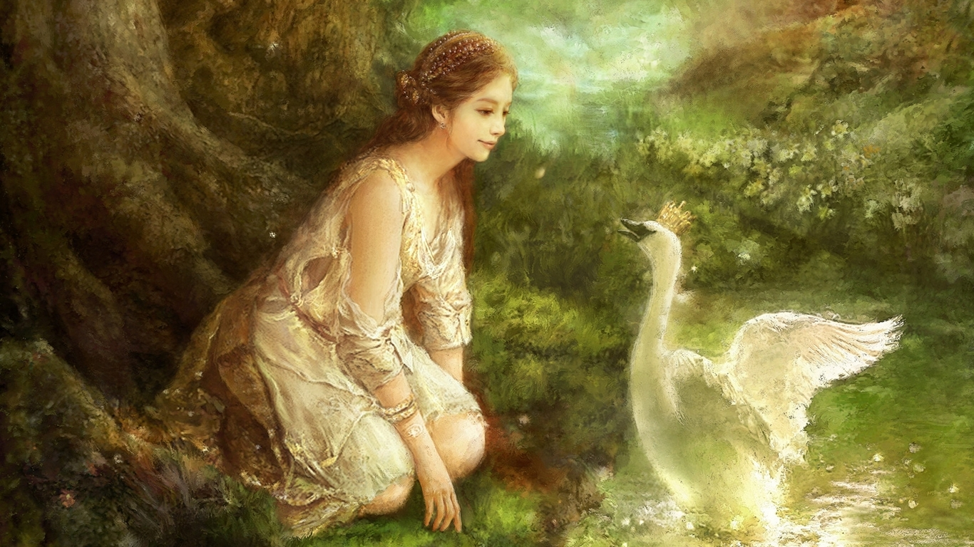A girl and a swan