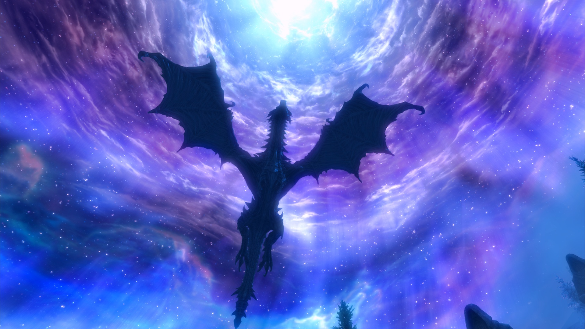 Dragon in the sky from the game The Elder Scrolls, Skyrim