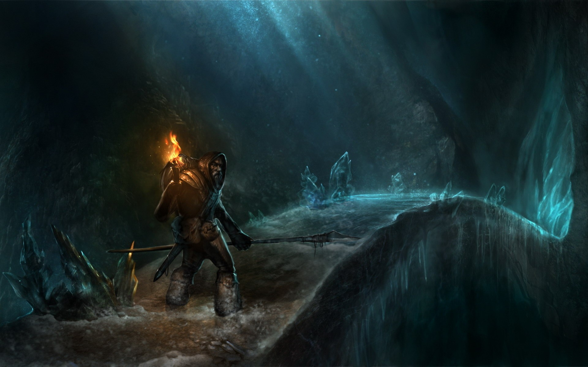 Dwarf in a cave with a torch, the art for the game World of Warcraft