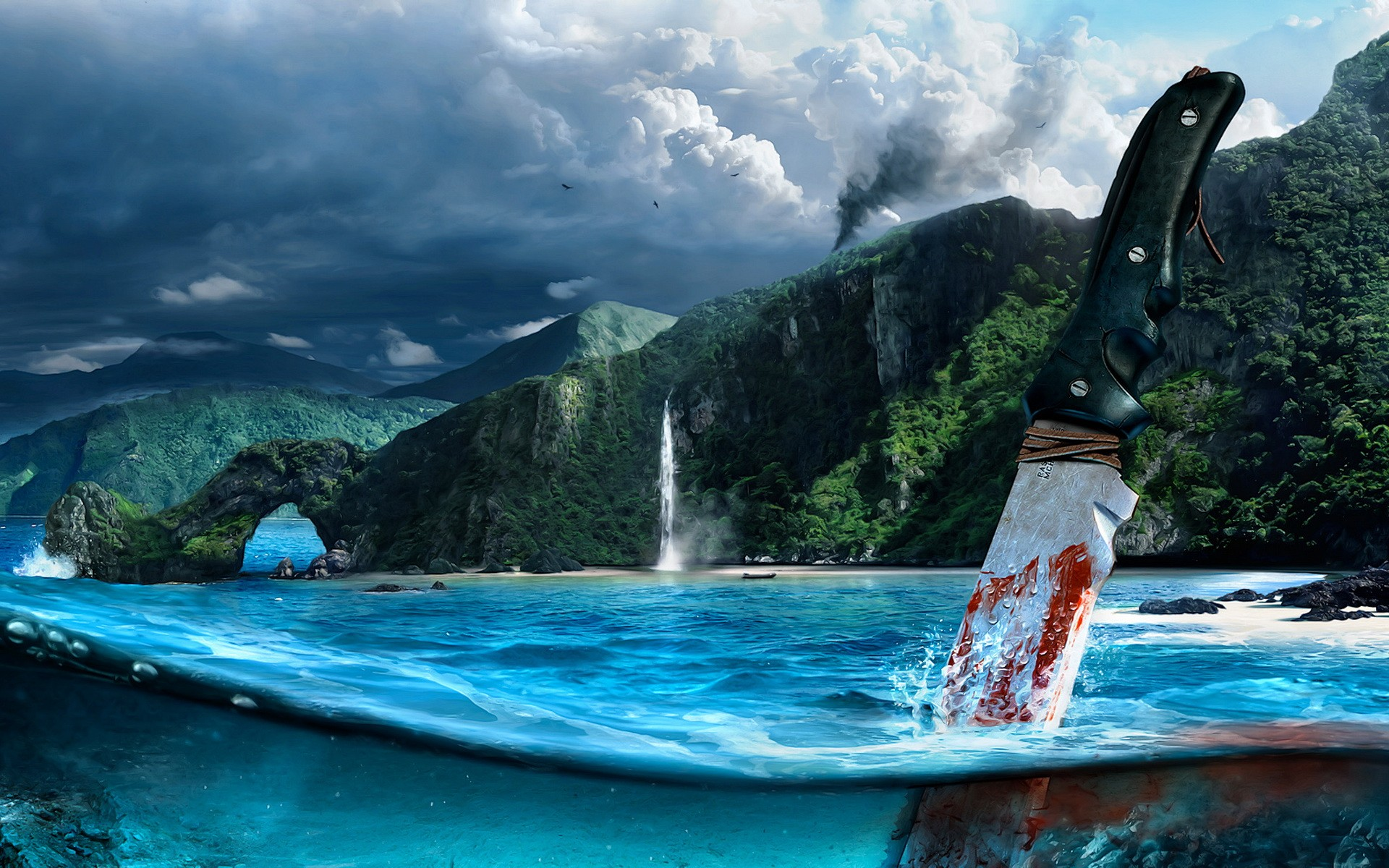 Knife into the sea, splash out of the game Far Cry