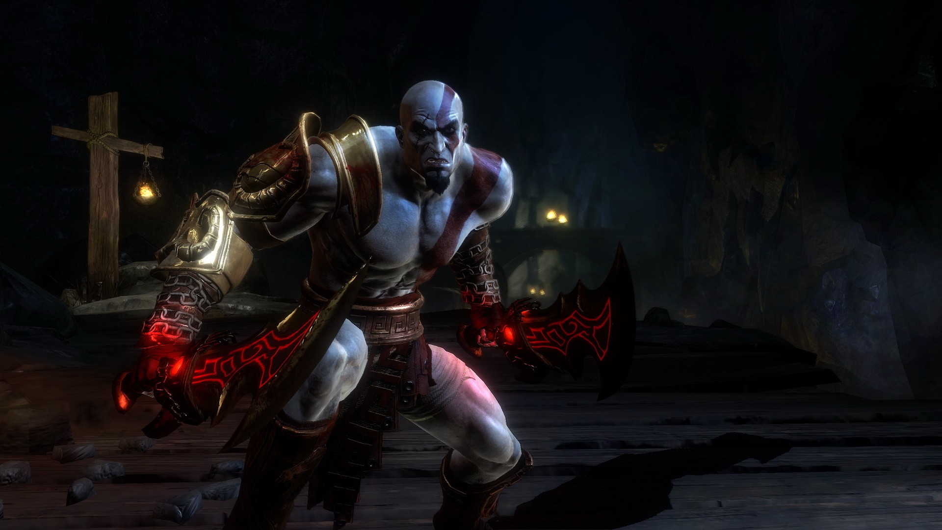 Kratos with red blades of the game God of War 3