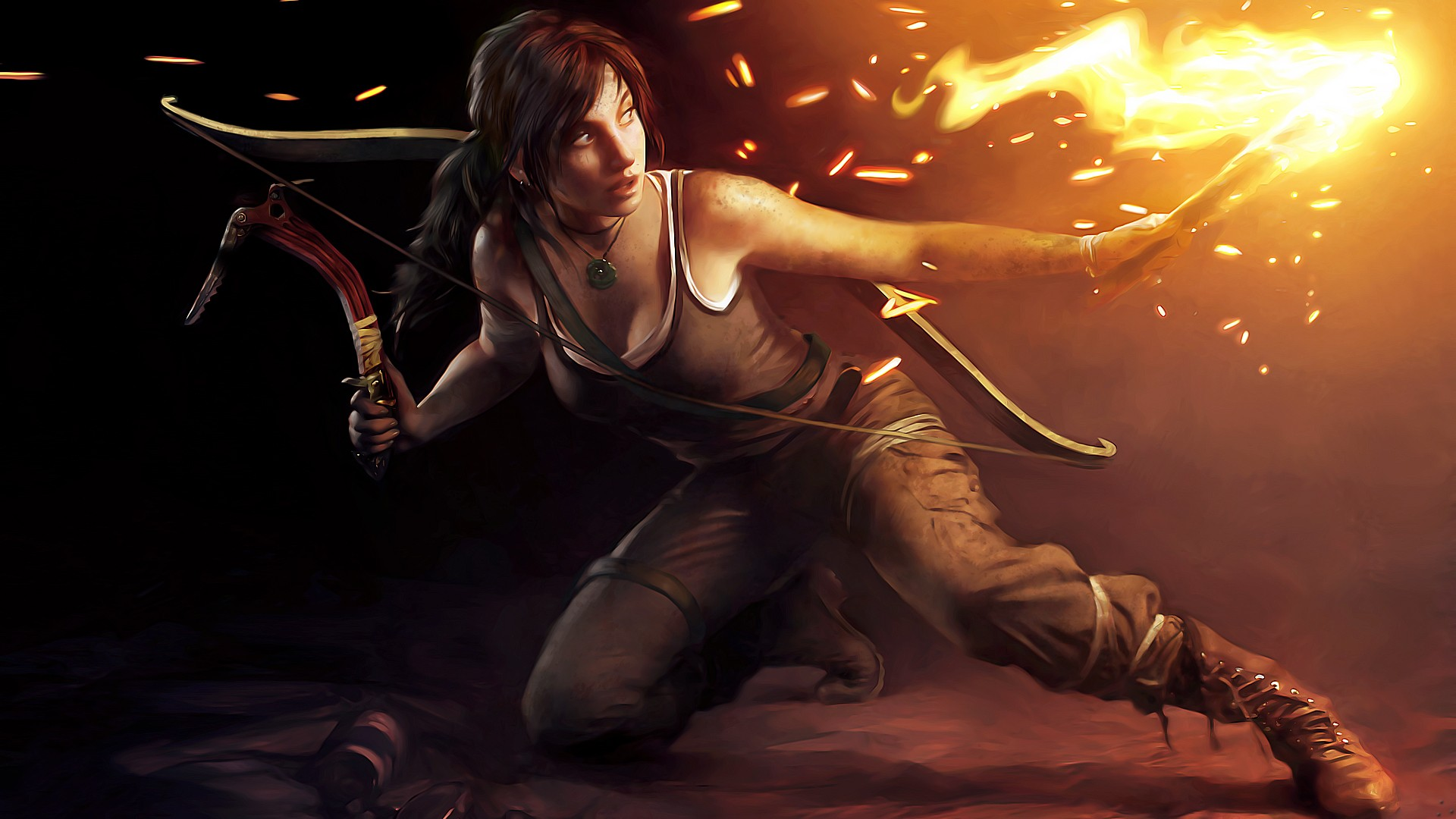 Lara Croft with a bow and a torch, art wallpapers