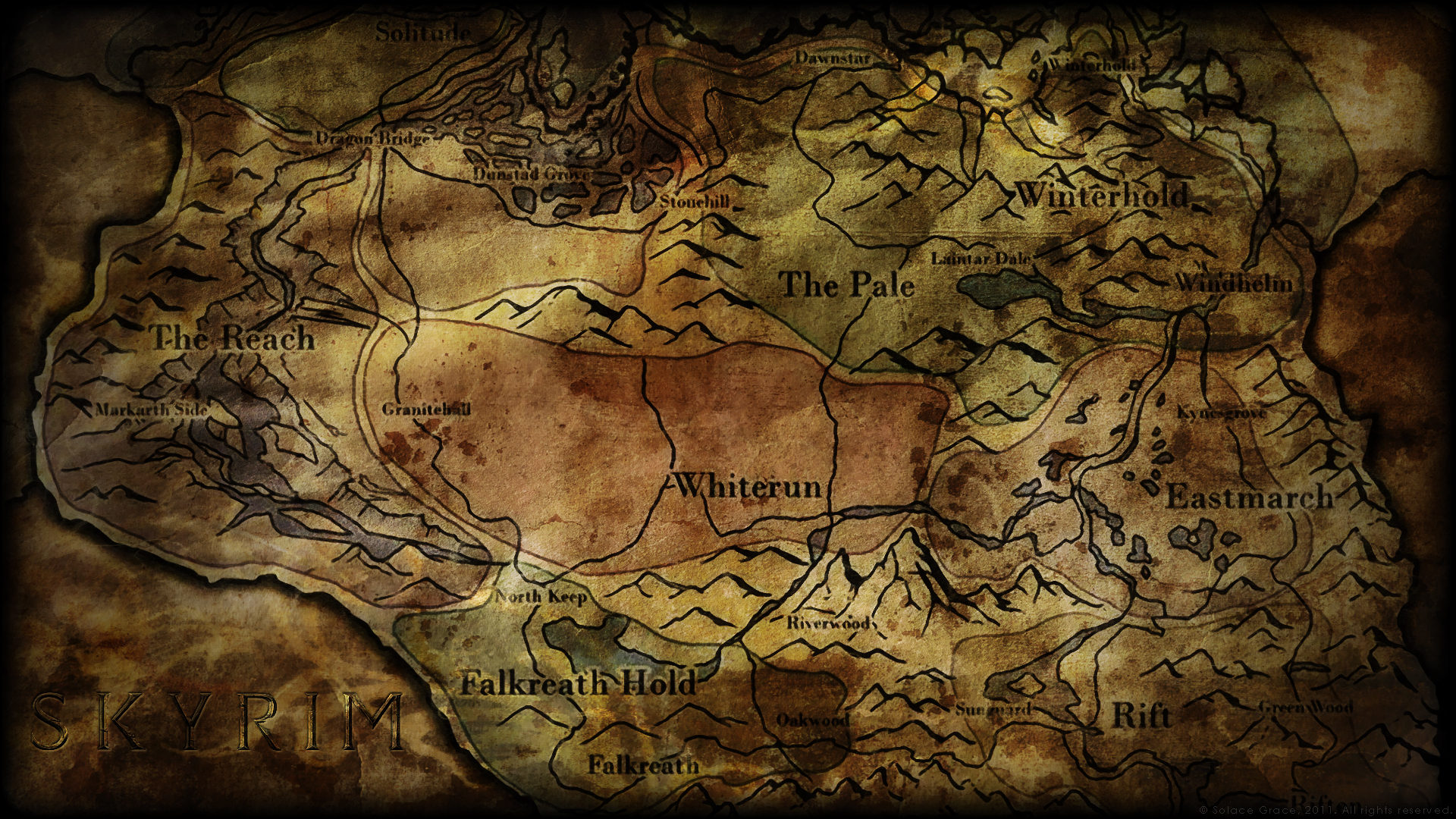 Map of the world of the game The Elder Scrolls 5: Skyrim