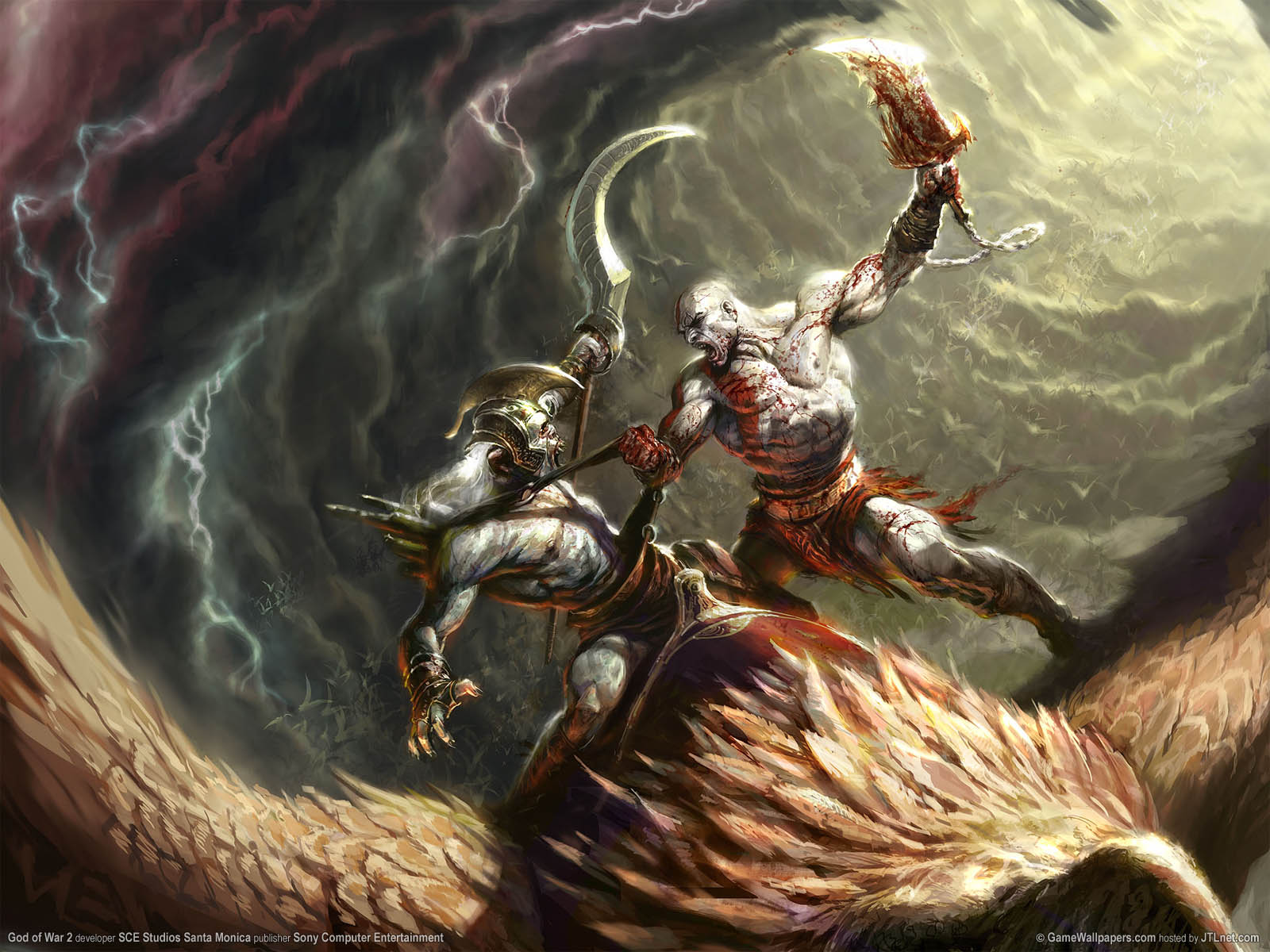 Download desktop wallpaper The game God of War 2, kloassnye