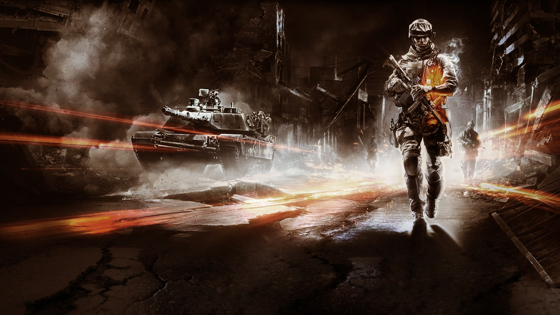 The ruined city, the tank and the soldiers - a scene from the game Battlefield 3