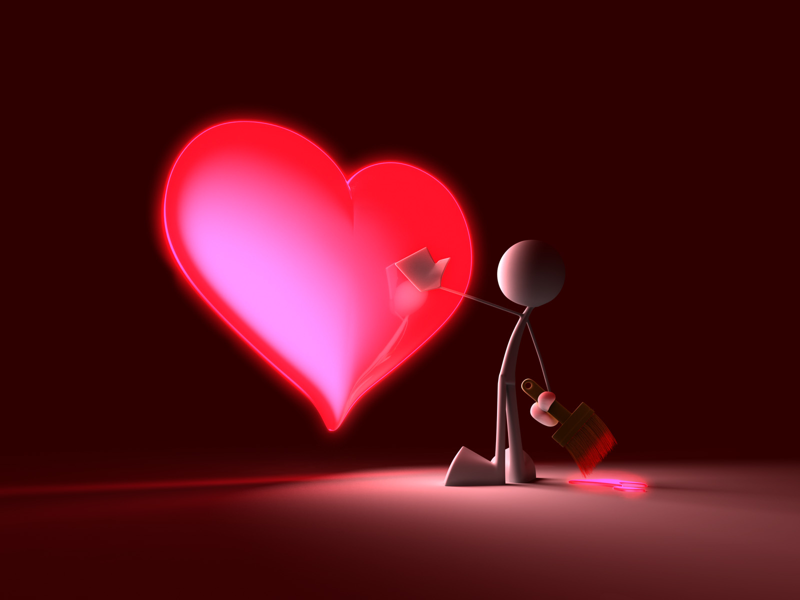 3D man and his heart, wallpaper, love, rabost, glamor.