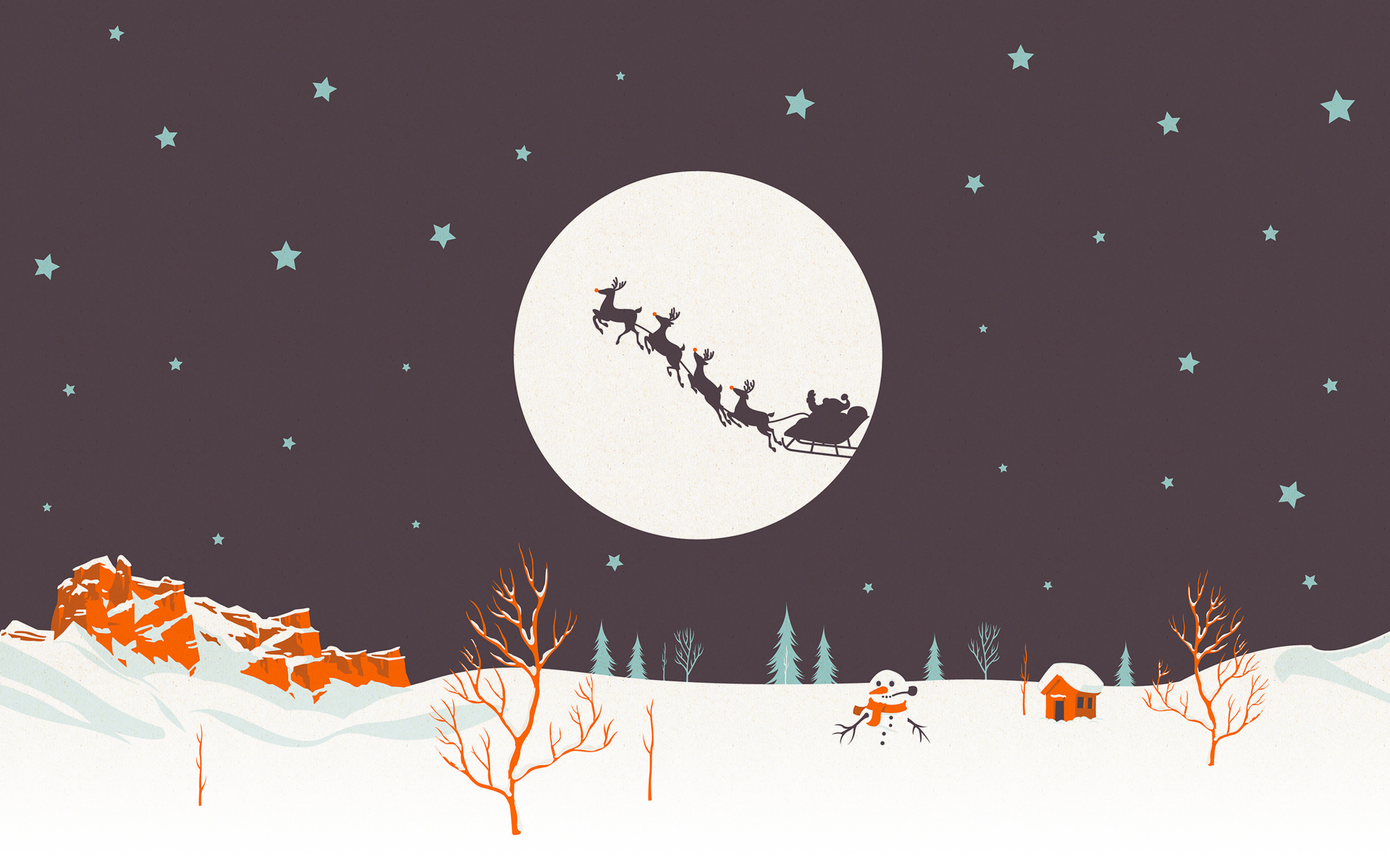 Christmas wallpaper with Santa Claus on a background of the moon