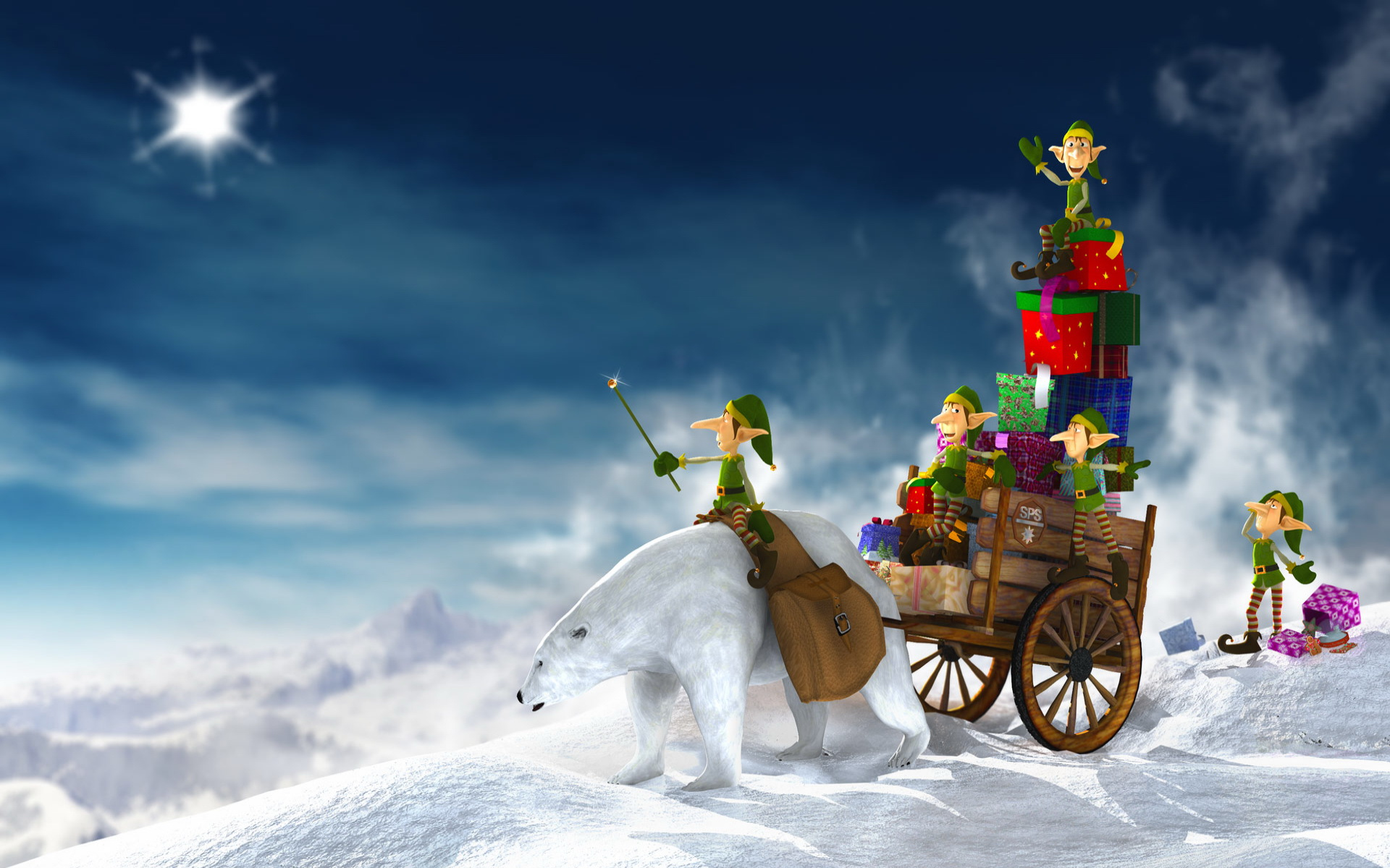 Cool and funny Christmas computer desktop wallpaper, dwarves on the white bear with gifts.