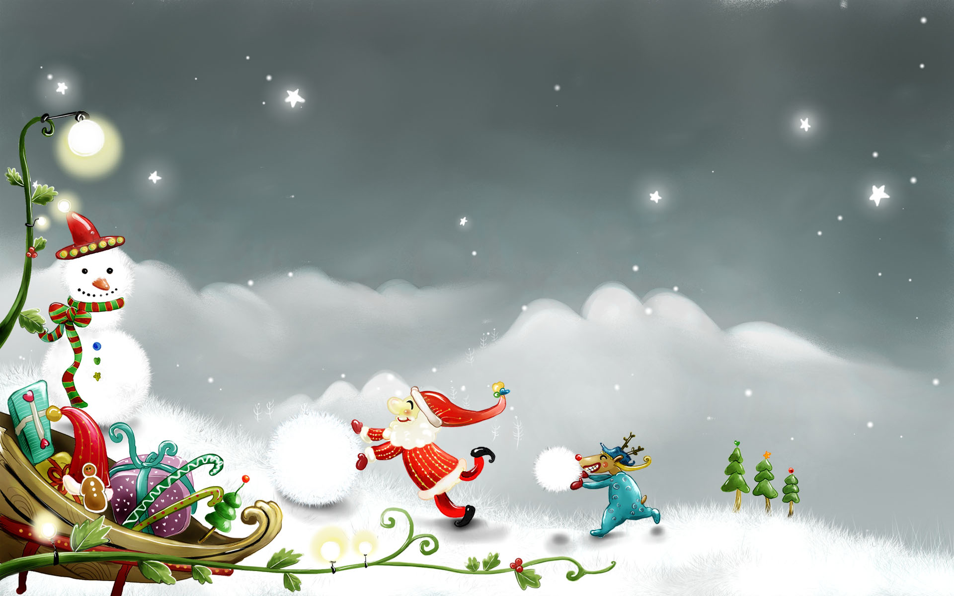 Drawn Creative Christmas Wallpaper