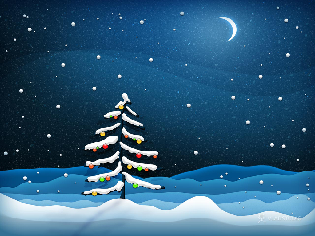 Night, month and moon spruce, vector Christmas wallpaper for your desktop.
