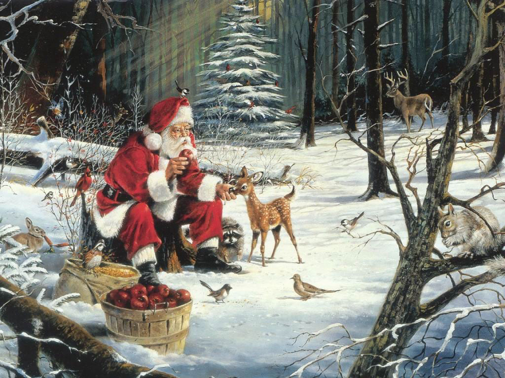 Santa Claus and animals in the Russian forest, Christmas wallpaper.