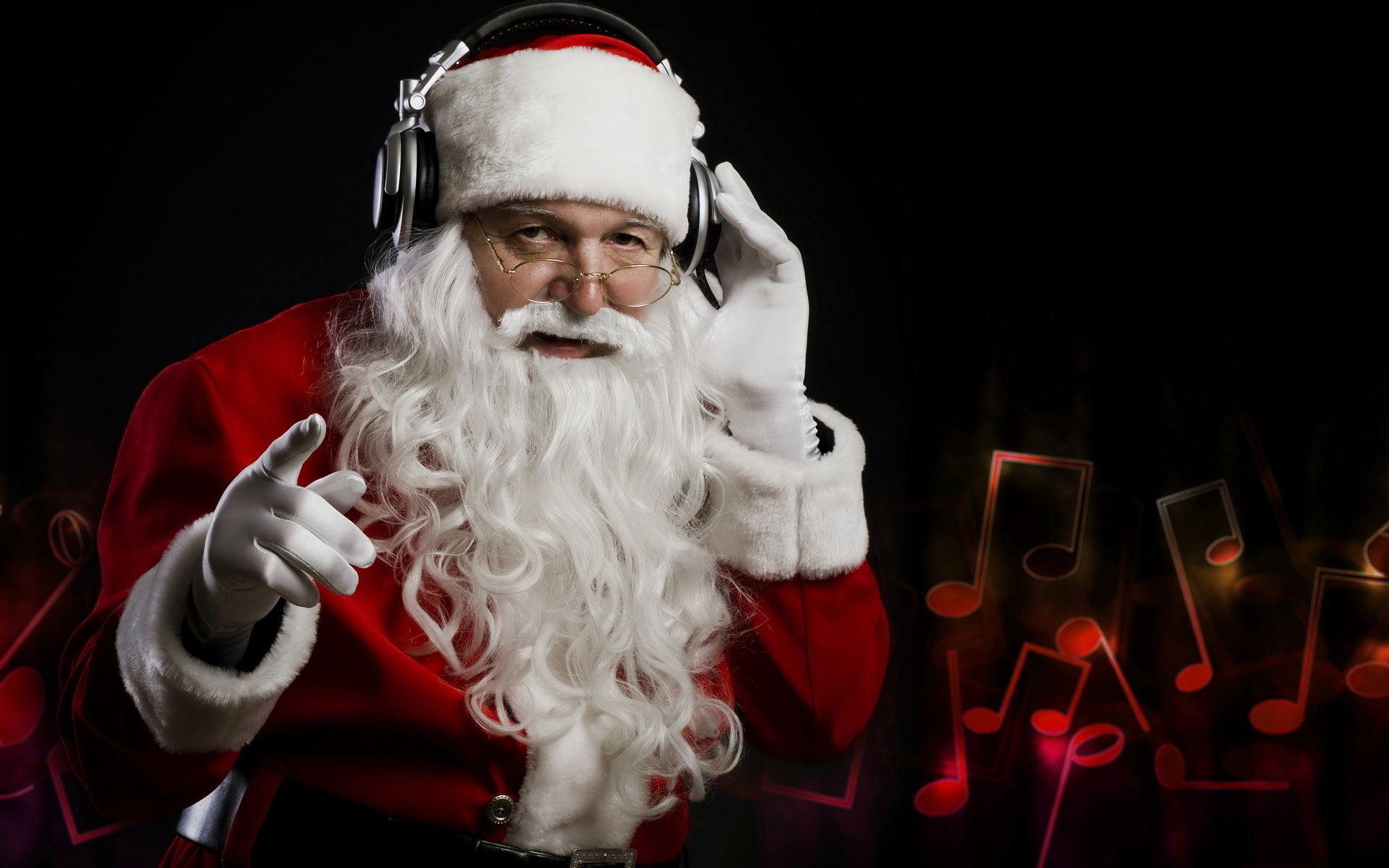 Santa Claus wearing headphones