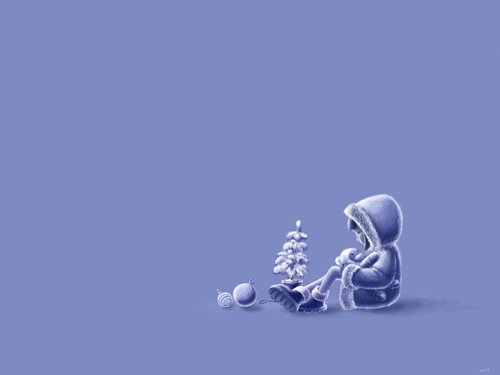 The girl with a toy and toy tree, vector Christmas wallpaper for your desktop.
