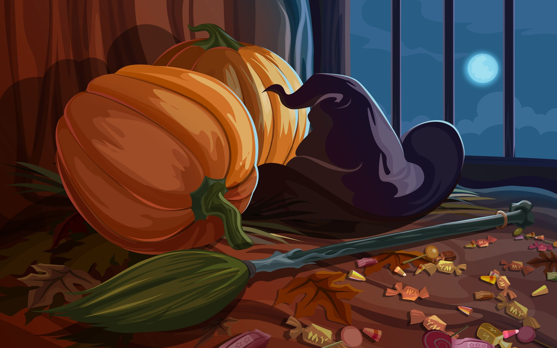 Two pumpkin and witch hat, wallpapers for prazlniku Haloween