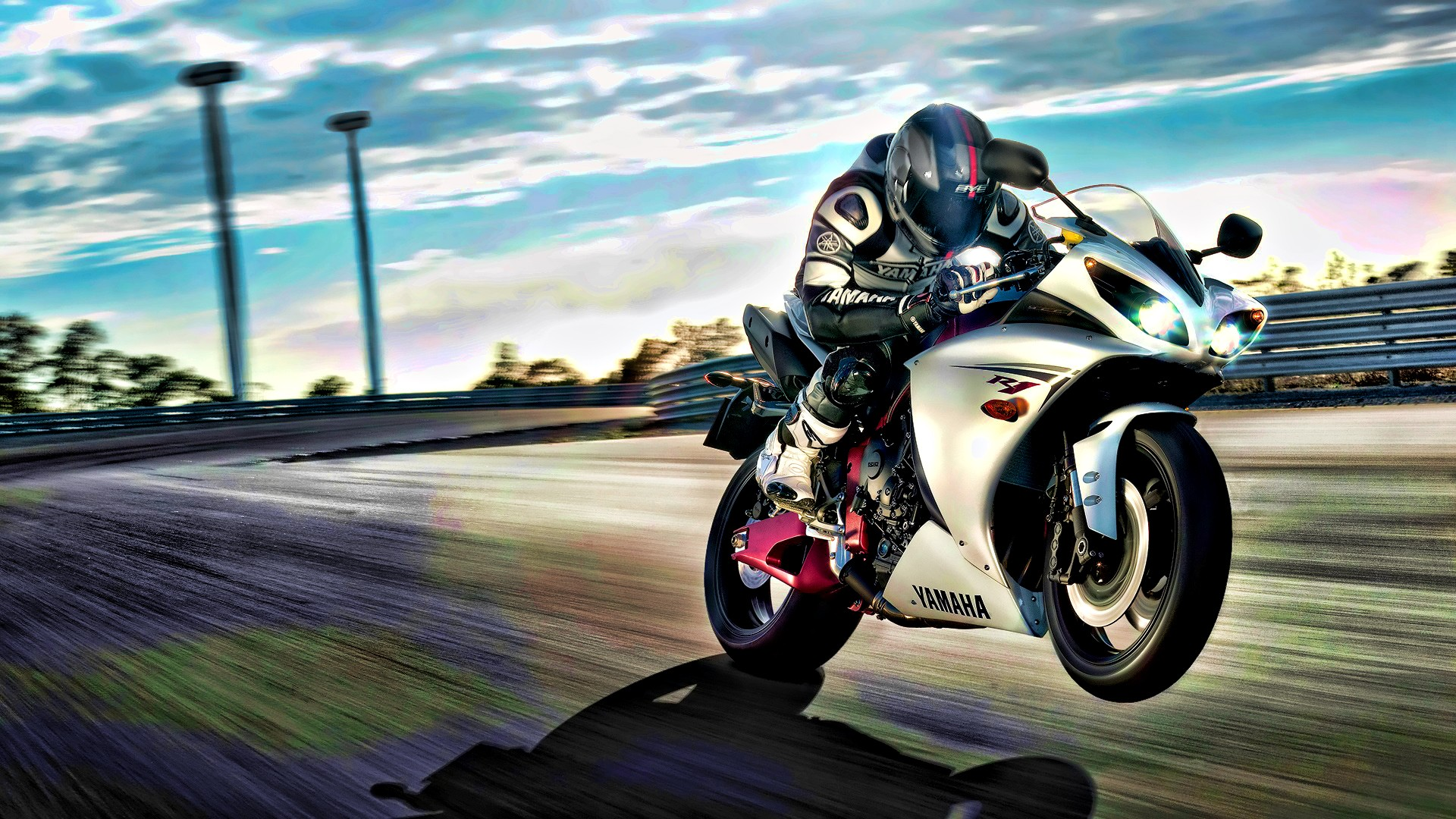Biker on sport bike Yamaha R1