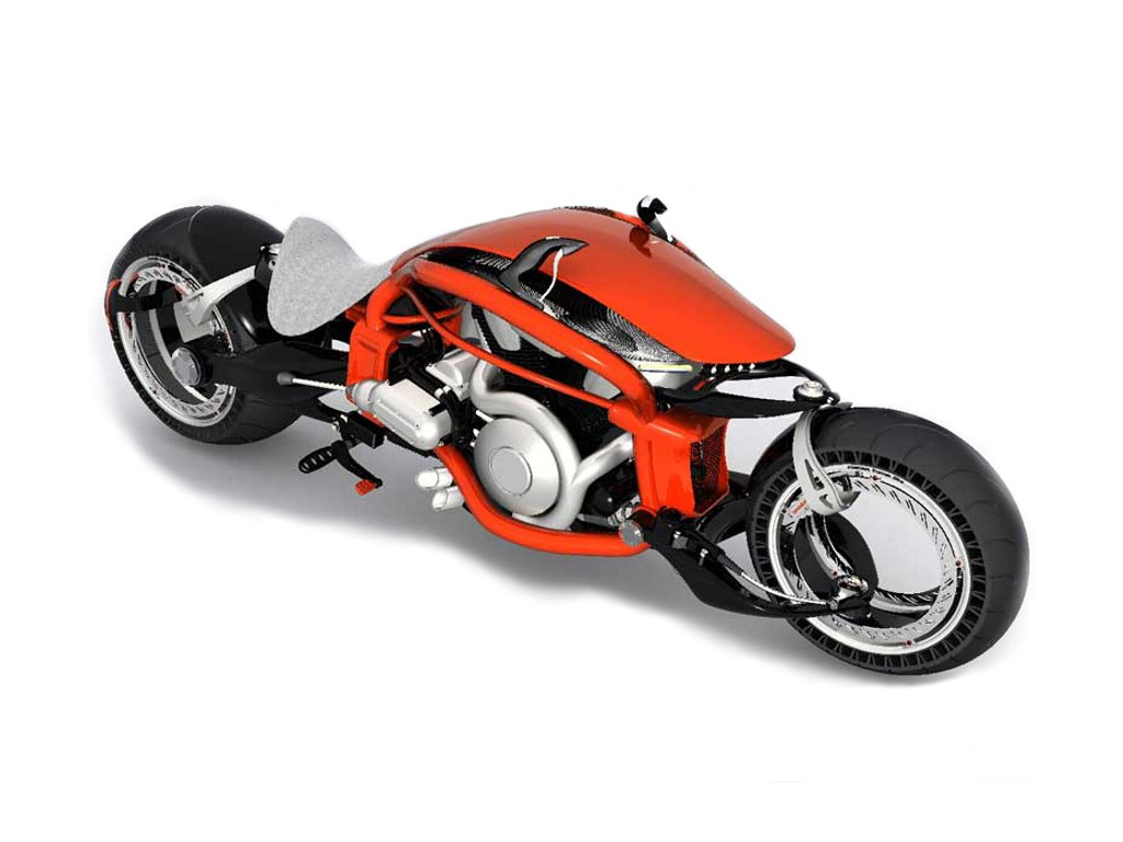 Futuristic red motorcycle buduyuschego wallpaper.