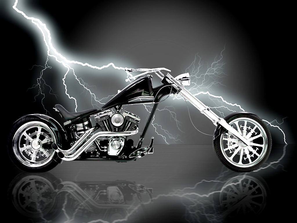 Motorcycle with a long fork and lightning wallpaper.