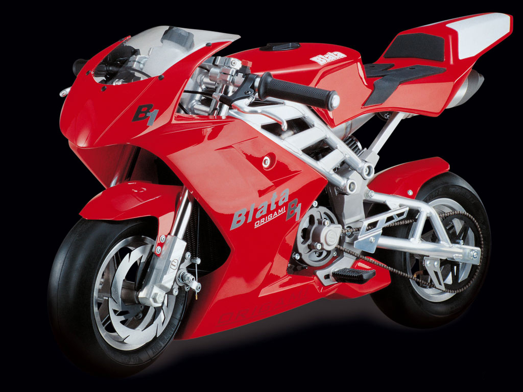Sporty red motorcycle Biata Origami, wallpaper for your desktop.