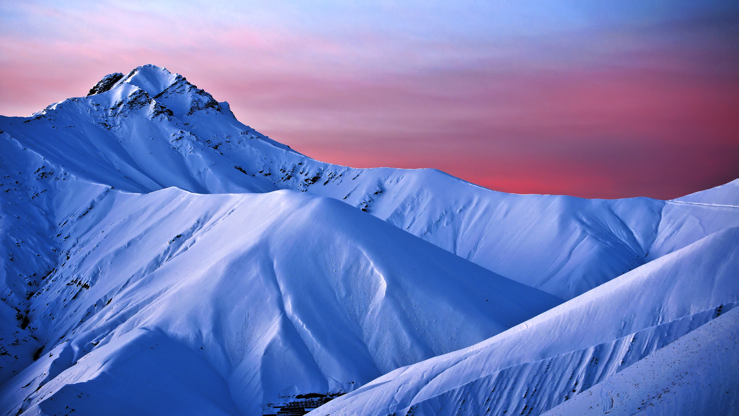 Dawn in the snowy mountains
