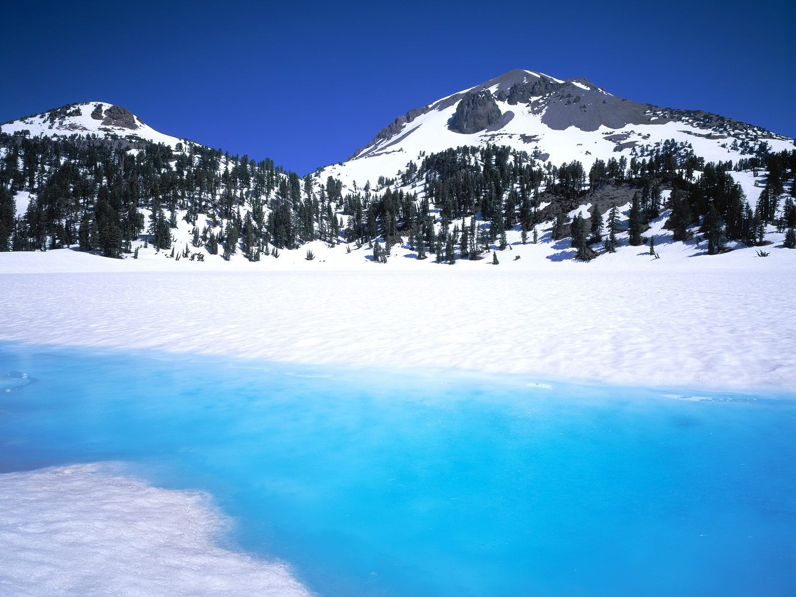 Frozen lake in the mountains