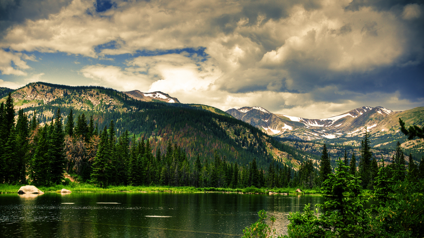mountain sky forest and lake
