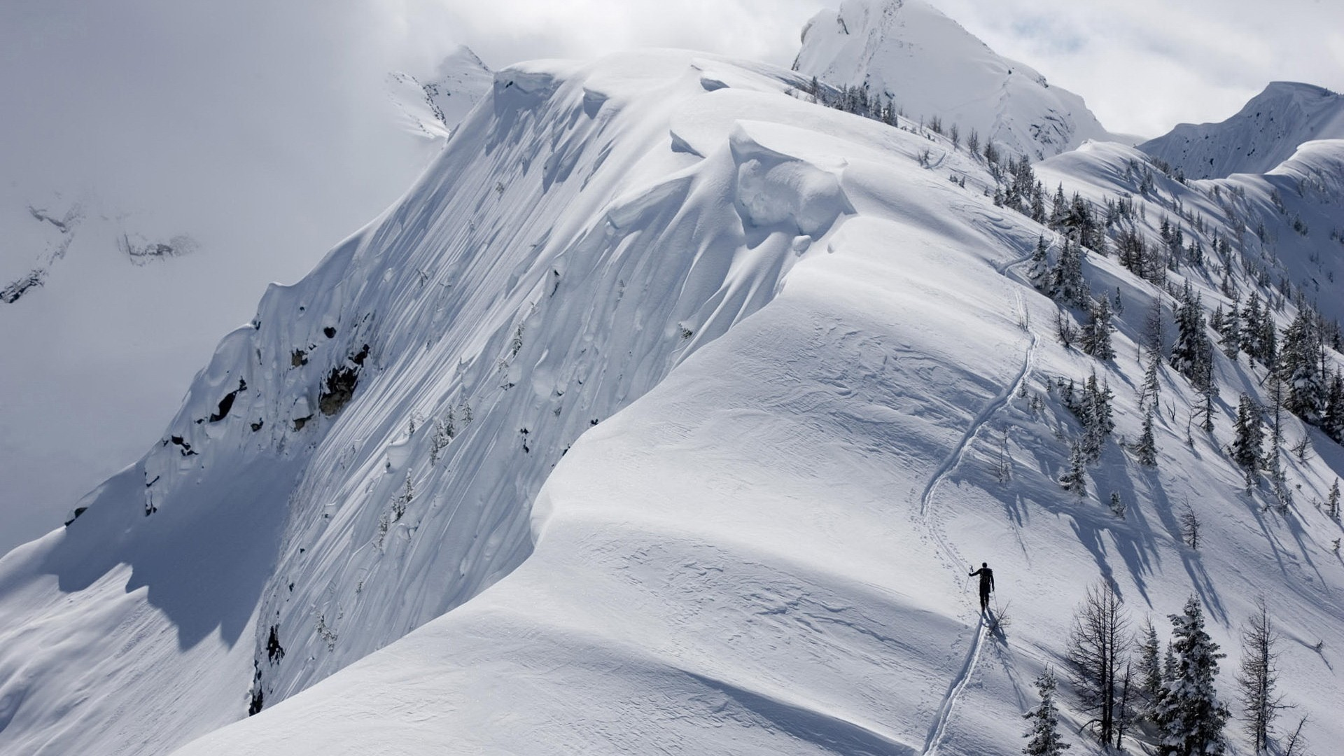 Skiers on snowy mountainside