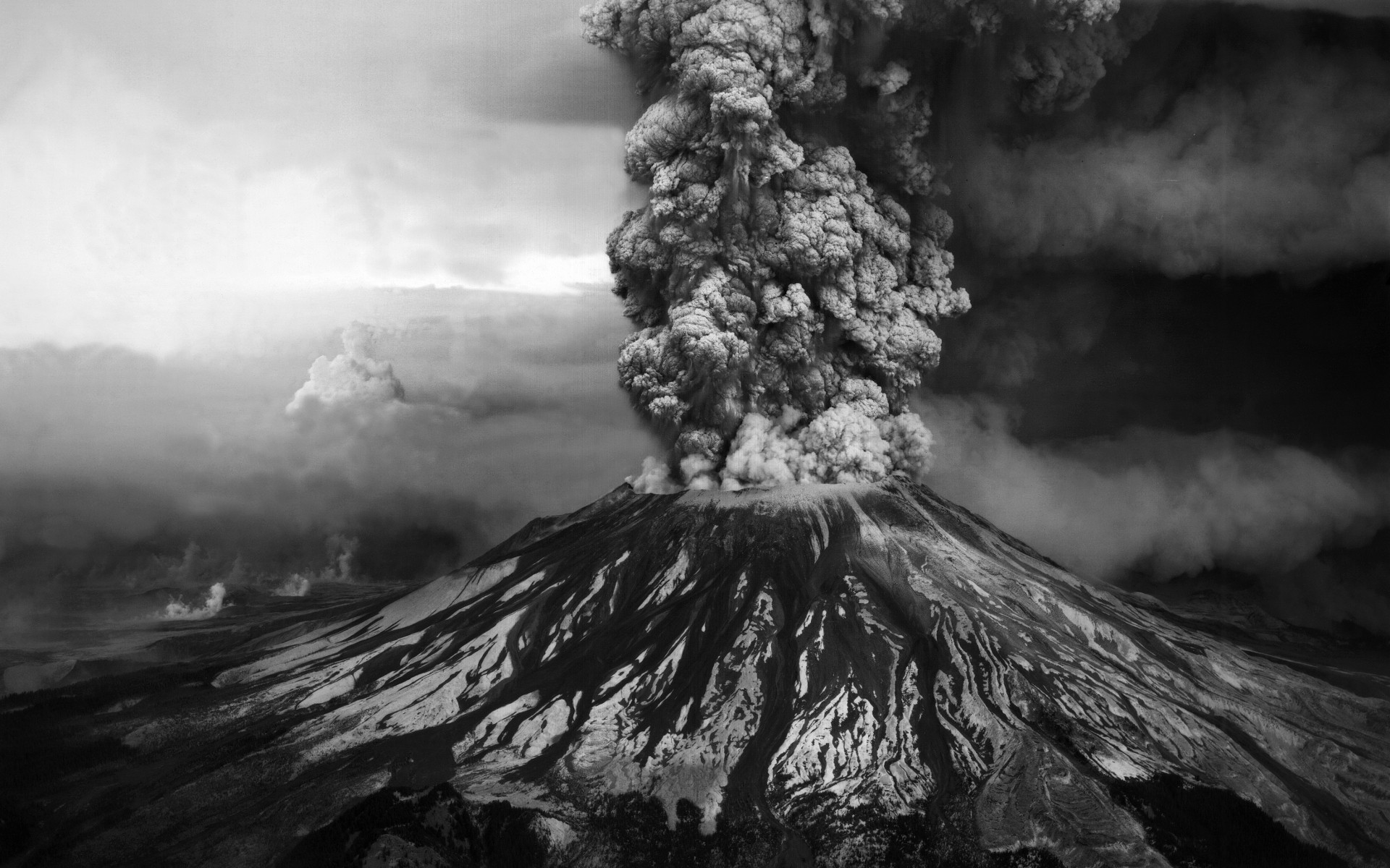 Volcano, black and white photo