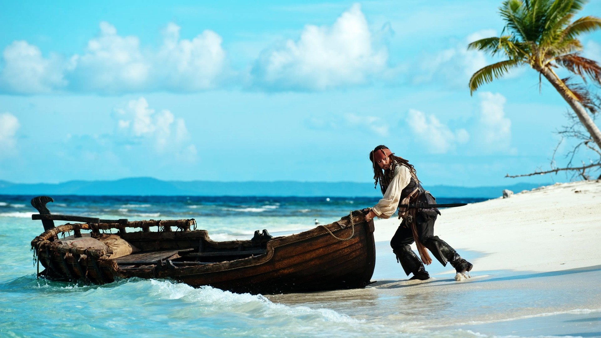 Jack Sparrow and boat wallpaper from the movie Pirates of the Caribbean