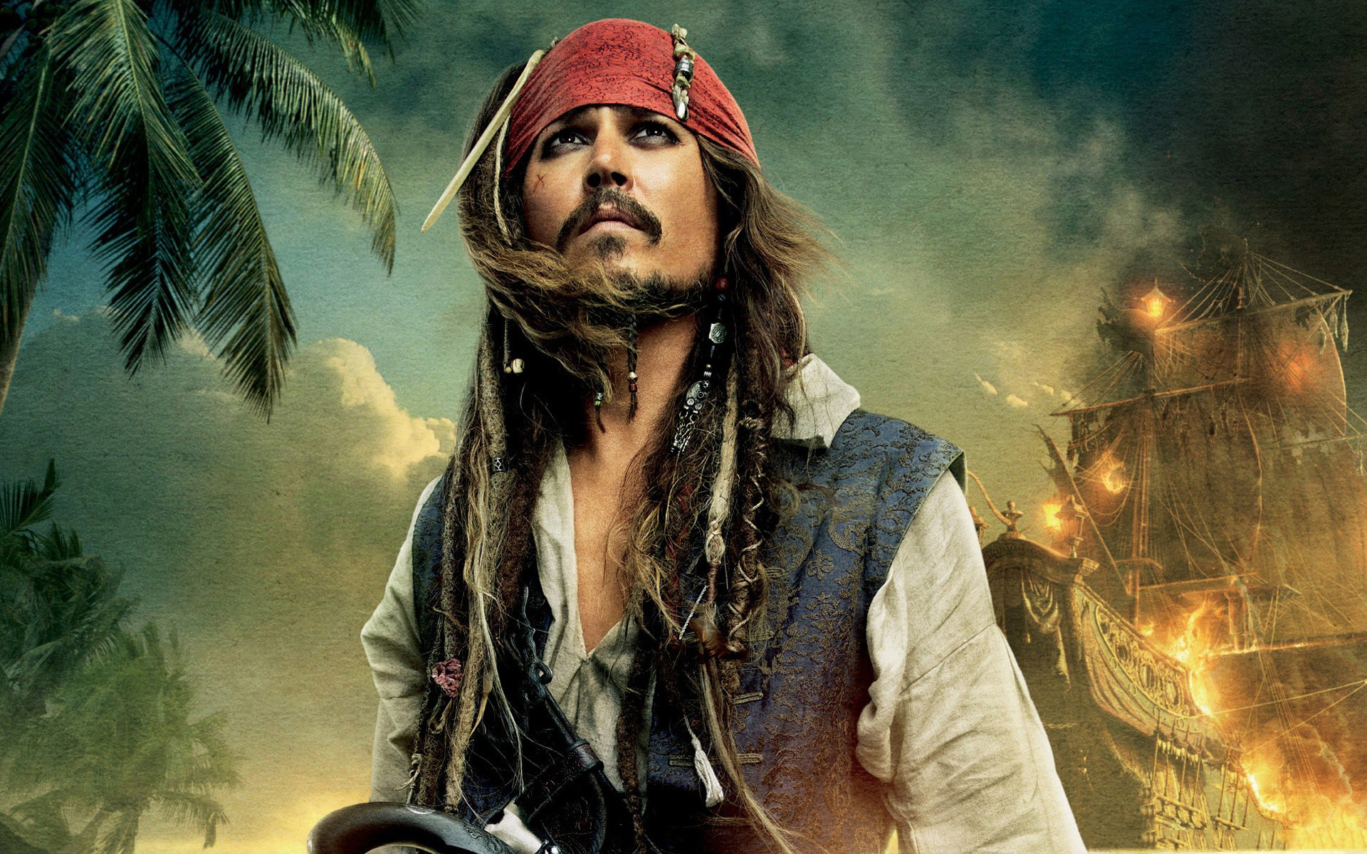 Johnny Dep in the film Pirates of the Caribbean