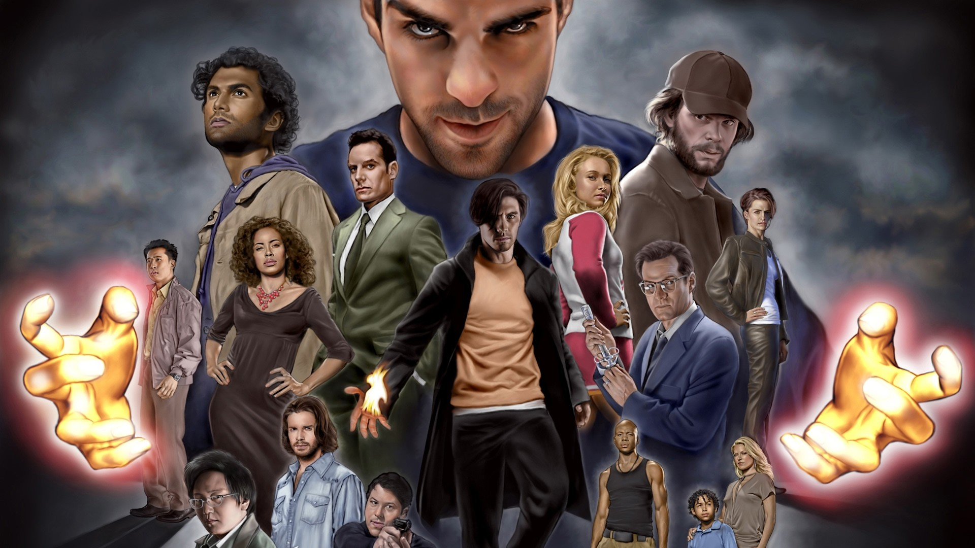 Painted wallpaper with the characters from the TV series Heroes (Heroes), based on a comic book.