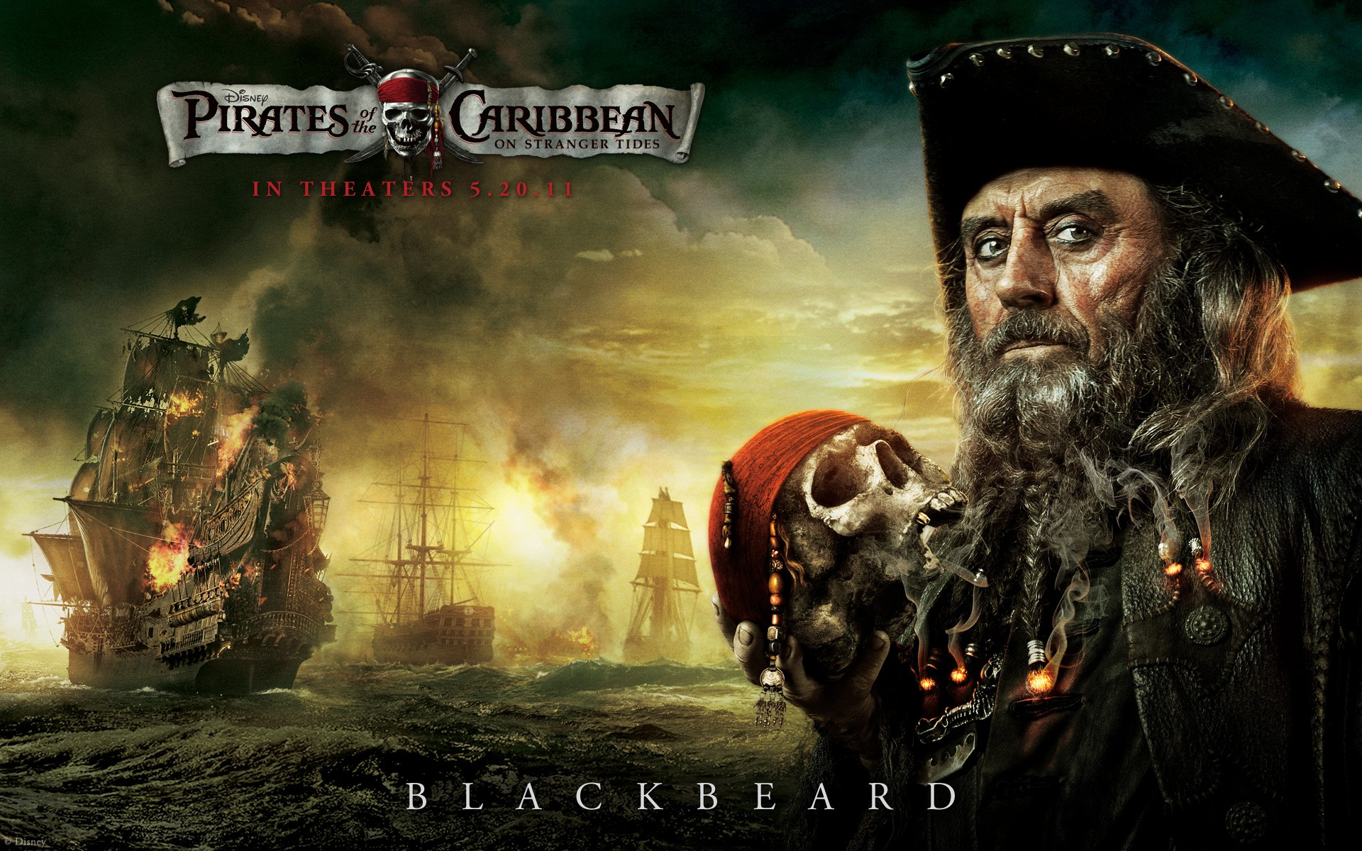 Screensaver with Blackbeard in the new Pirates of the Caribbean