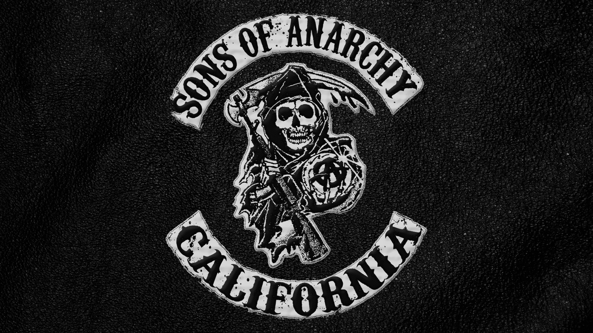 Sons of Anarchy logo on the leather jacket