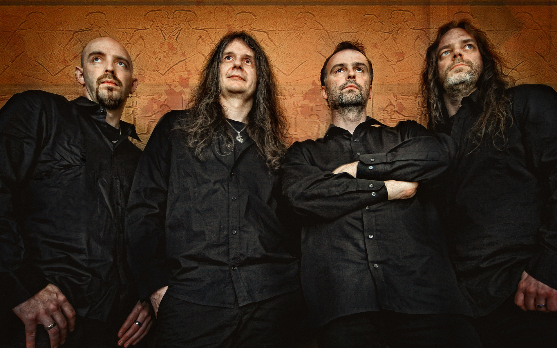 Wallpaper with the musicians of Blind Guardian