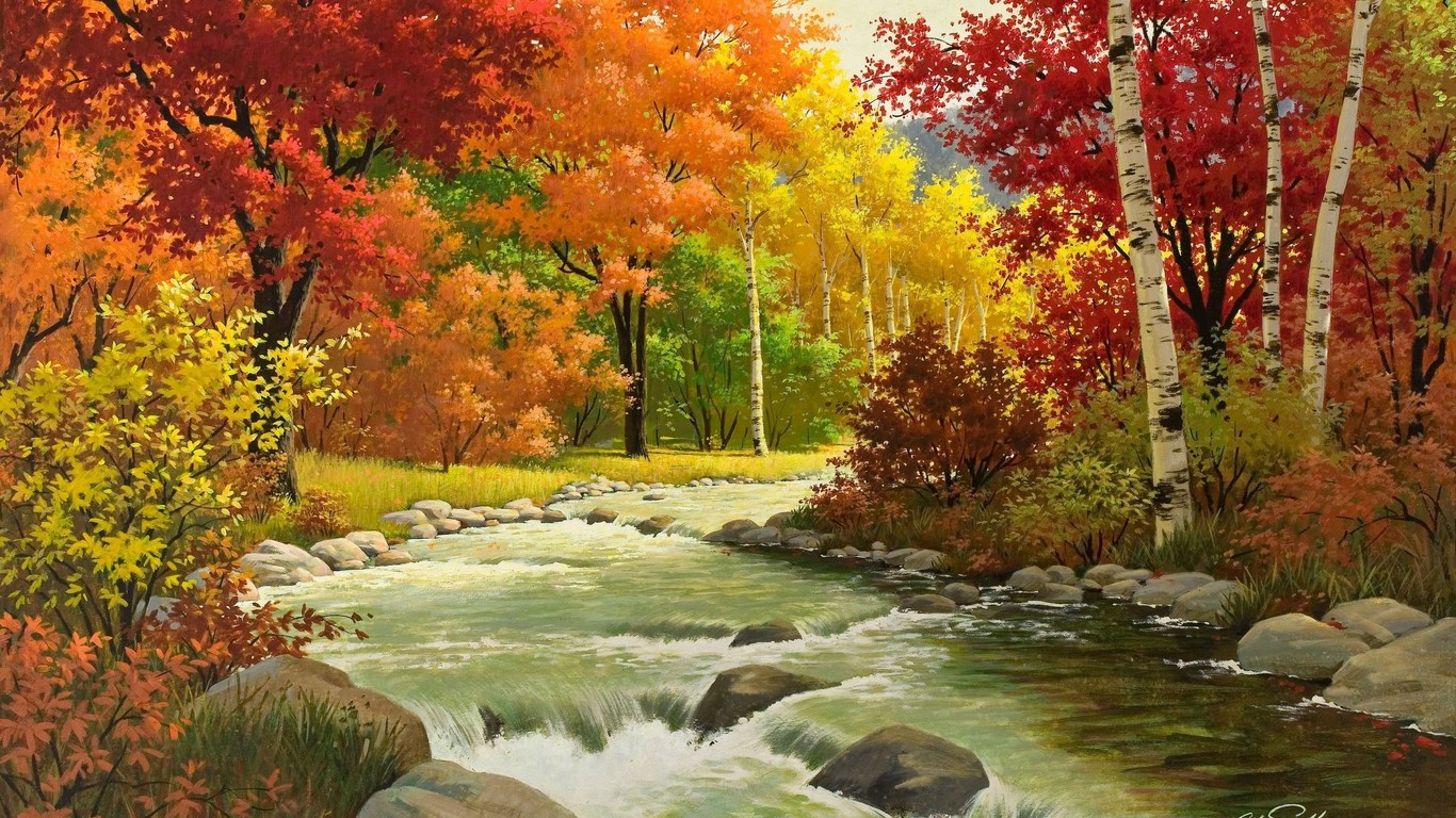 Download wallpaper beautiful autumn landscape of birch 1366x768