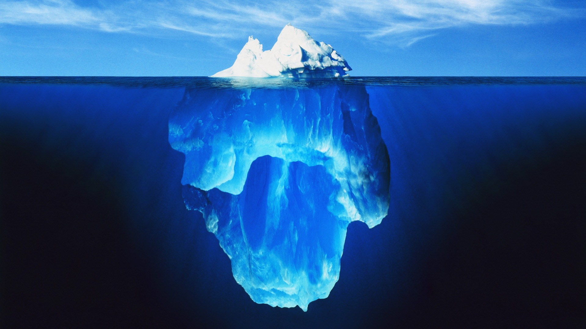 Iceberg above water and under water