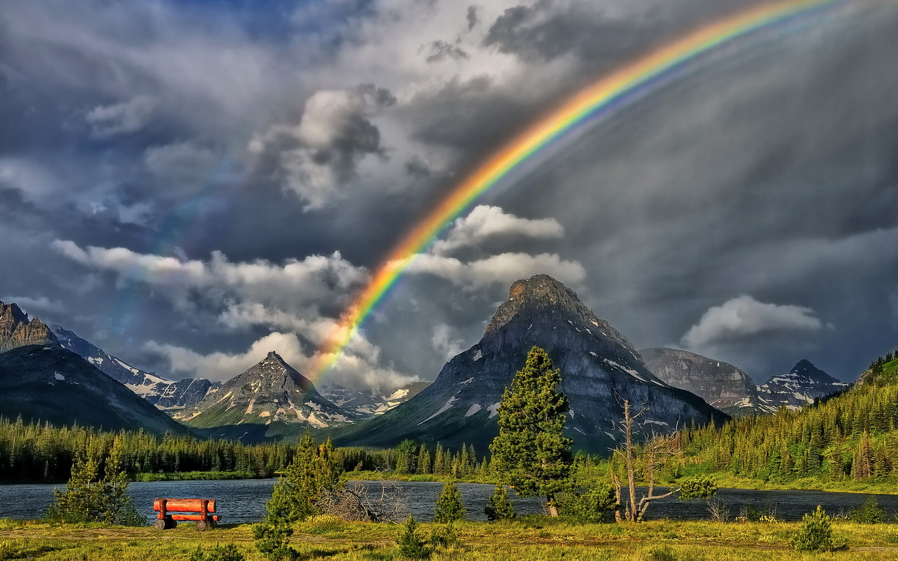 mountains, rainbow